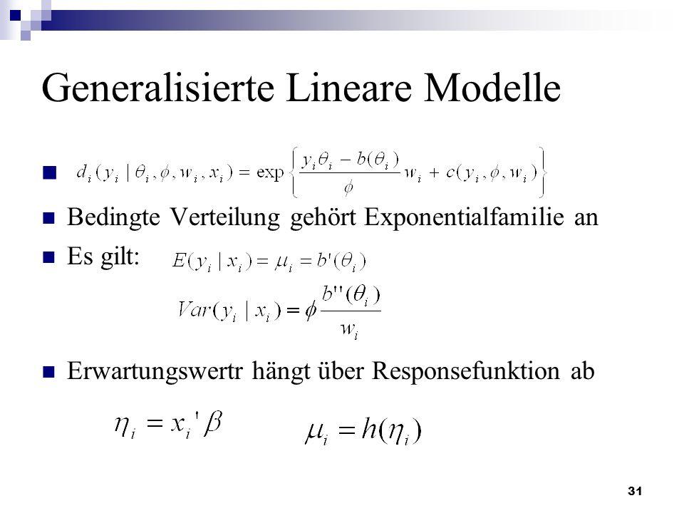 31 Generalisierte Lineare Modelle Bedingte Verteilung gehört Exponentialfamilie an Es gilt: Erwartungswertr hängt über Responsefunktion ab