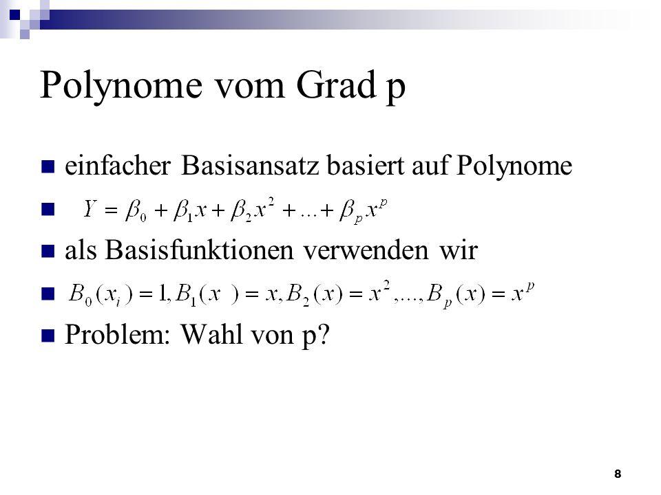 8 Polynome vom Grad p einfacher Basisansatz basiert auf Polynome als Basisfunktionen verwenden wir Problem: Wahl von p?