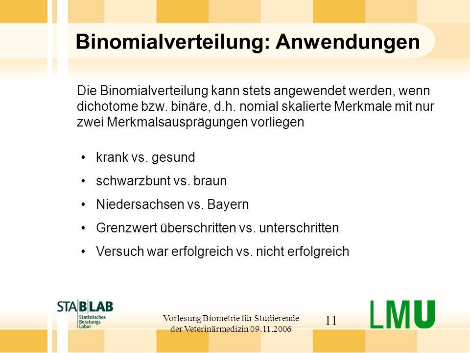 Vorlesung Biometrie für Studierende der Veterinärmedizin 09.11.2006 11 Binomialverteilung: Anwendungen krank vs.