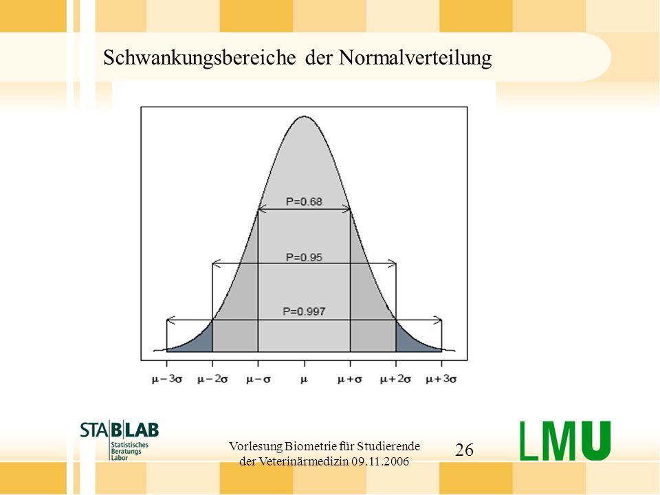 Vorlesung Biometrie für Studierende der Veterinärmedizin 09.11.2006 26 Schwankungsbereiche der Normalverteilung