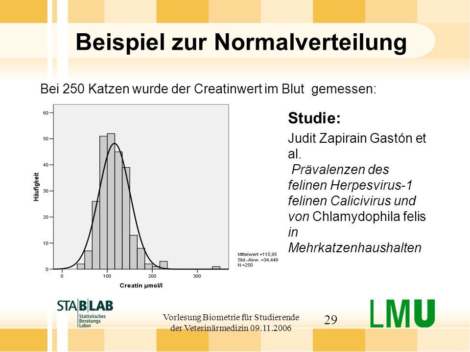 Vorlesung Biometrie für Studierende der Veterinärmedizin 09.11.2006 29 Beispiel zur Normalverteilung Bei 250 Katzen wurde der Creatinwert im Blut gemessen: Studie: Judit Zapirain Gastón et al.
