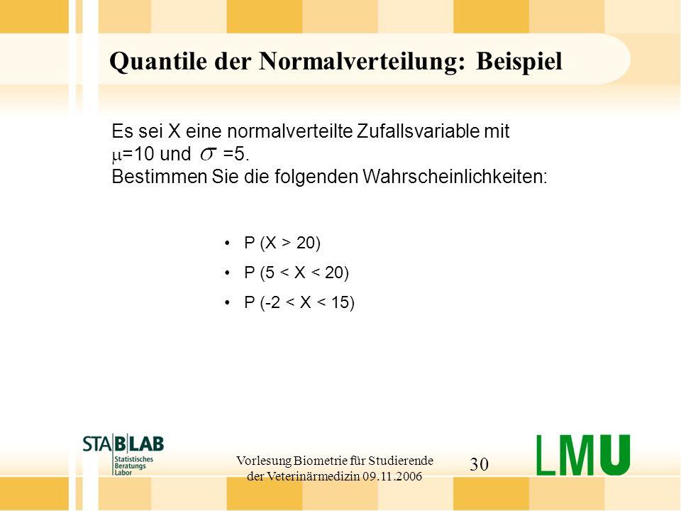 Vorlesung Biometrie für Studierende der Veterinärmedizin 09.11.2006 30 Quantile der Normalverteilung: Beispiel P (X > 20) P (5 < X < 20) P (-2 < X < 15) Es sei X eine normalverteilte Zufallsvariable mit =10 und =5.