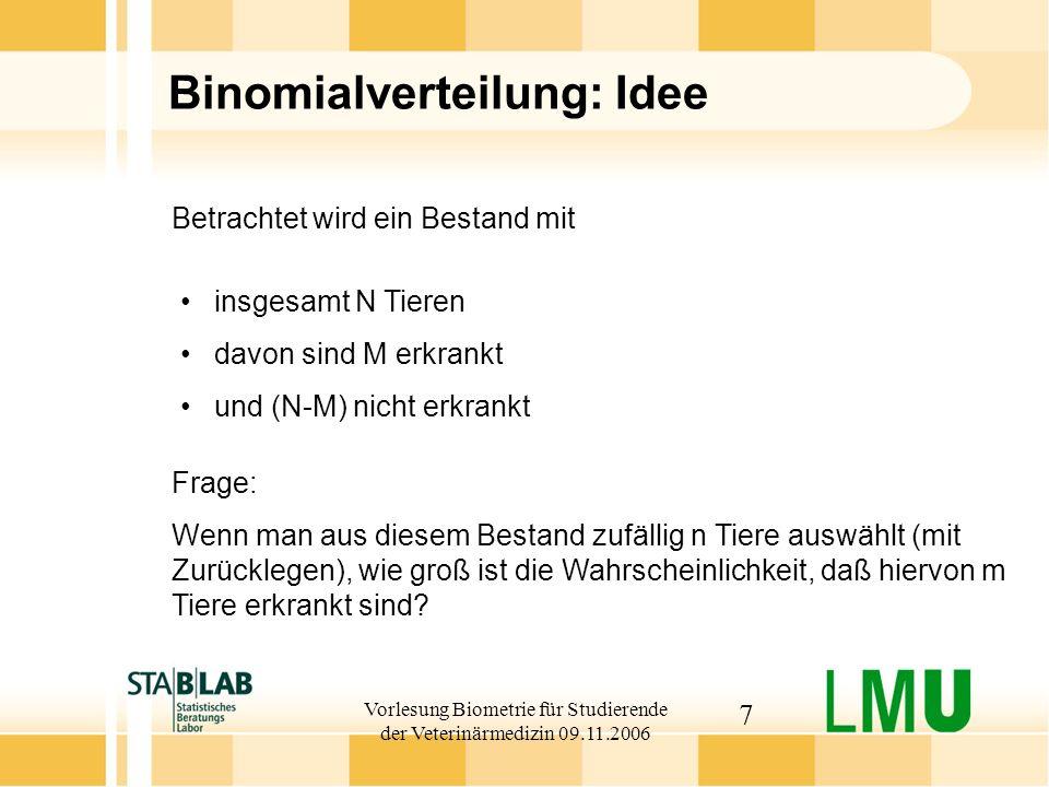 Vorlesung Biometrie für Studierende der Veterinärmedizin 09.11.2006 28