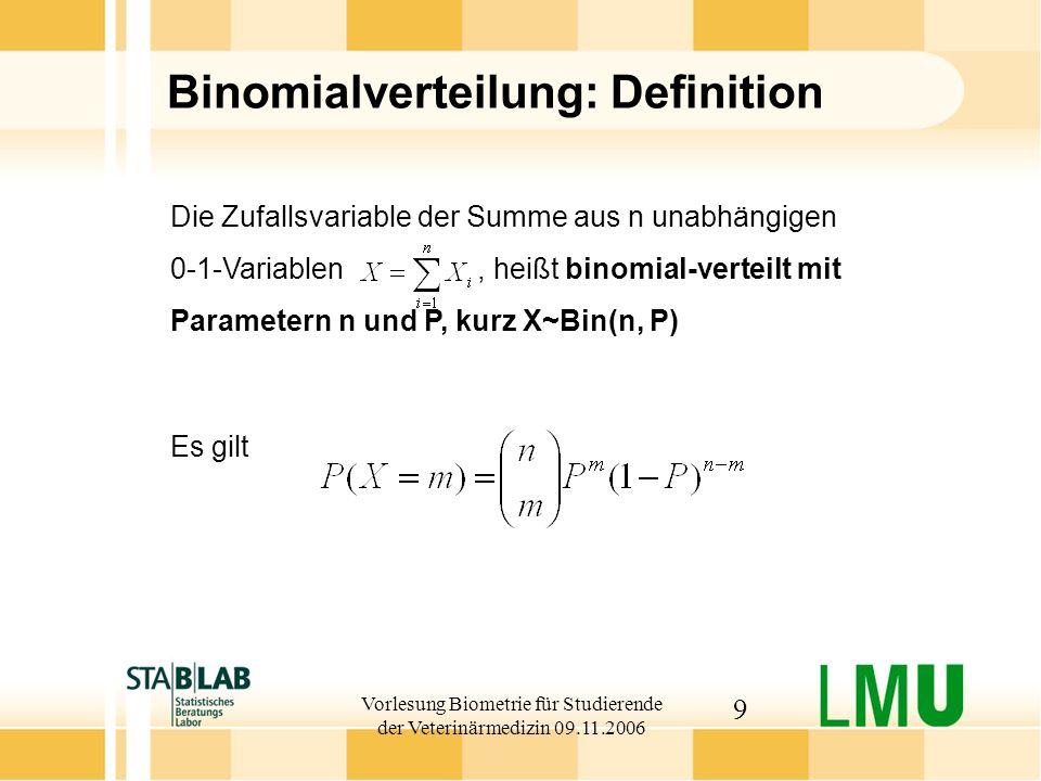Vorlesung Biometrie für Studierende der Veterinärmedizin 09.11.2006 20 Erwartungswert und Varianz stetiger Zufallsgrößen Ist stetig mit Dichtefunktion, so definiert man: