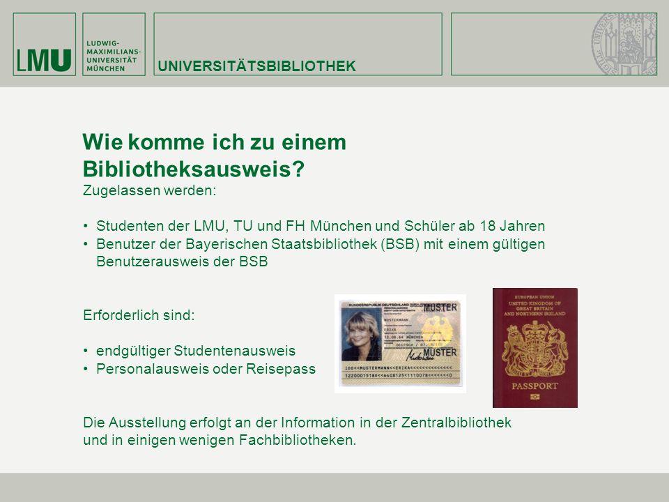 Wie komme ich zu einem Bibliotheksausweis? Zugelassen werden: Studenten der LMU, TU und FH München und Schüler ab 18 Jahren Benutzer der Bayerischen S