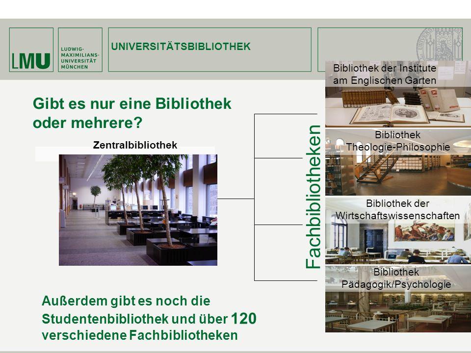 Gibt es nur eine Bibliothek oder mehrere? Außerdem gibt es noch die Studentenbibliothek und über 120 verschiedene Fachbibliotheken UNIVERSITÄTSBIBLIOT