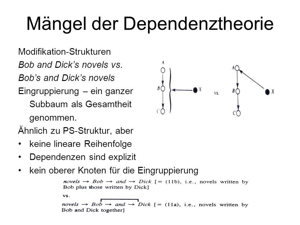 Mängel der Dependenztheorie Modifikation-Strukturen Bob and Dicks novels vs. Bobs and Dicks novels Eingruppierung – ein ganzer Subbaum als Gesamtheit