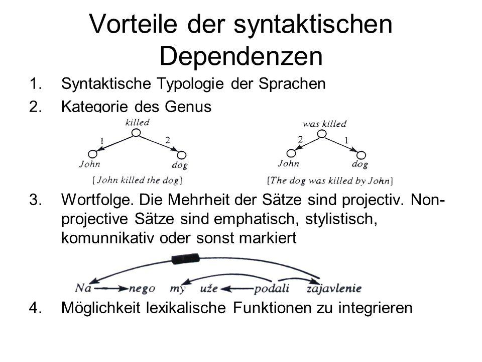 Vorteile der syntaktischen Dependenzen 1.Syntaktische Typologie der Sprachen 2.Kategorie des Genus 3.Wortfolge. Die Mehrheit der Sätze sind projectiv.