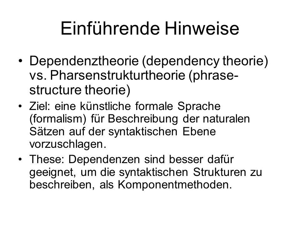 Einführende Hinweise Dependenztheorie (dependency theorie) vs. Pharsenstrukturtheorie (phrase- structure theorie) Ziel: eine künstliche formale Sprach