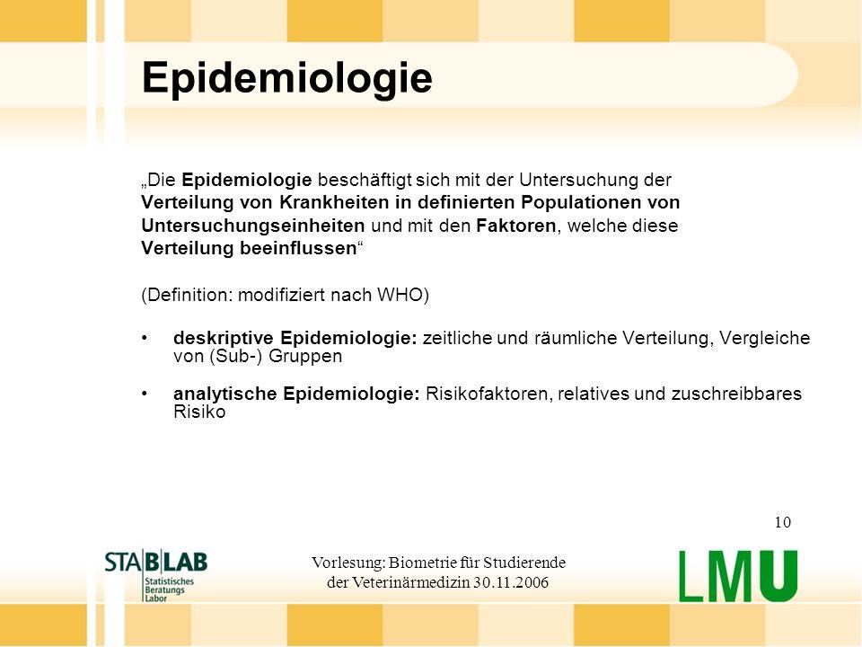 Vorlesung: Biometrie für Studierende der Veterinärmedizin 30.11.2006 10 Epidemiologie Die Epidemiologie beschäftigt sich mit der Untersuchung der Vert
