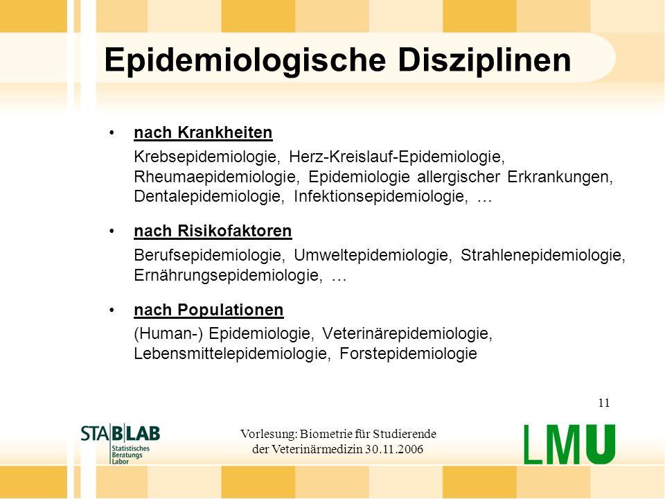 Vorlesung: Biometrie für Studierende der Veterinärmedizin 30.11.2006 11 Epidemiologische Disziplinen nach Krankheiten Krebsepidemiologie, Herz-Kreisla