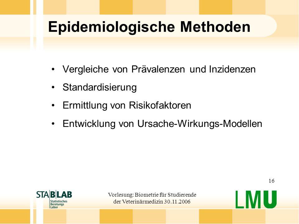Vorlesung: Biometrie für Studierende der Veterinärmedizin 30.11.2006 16 Epidemiologische Methoden Vergleiche von Prävalenzen und Inzidenzen Standardis