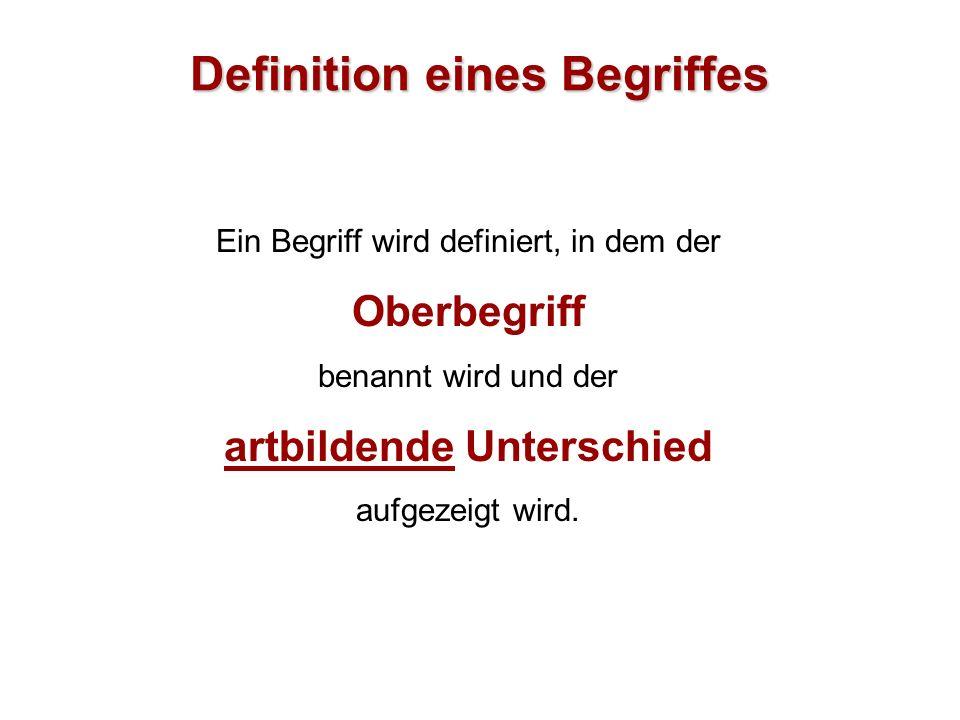 Definition eines Begriffes Ein Begriff wird definiert, in dem der Oberbegriff benannt wird und der artbildende Unterschied aufgezeigt wird.