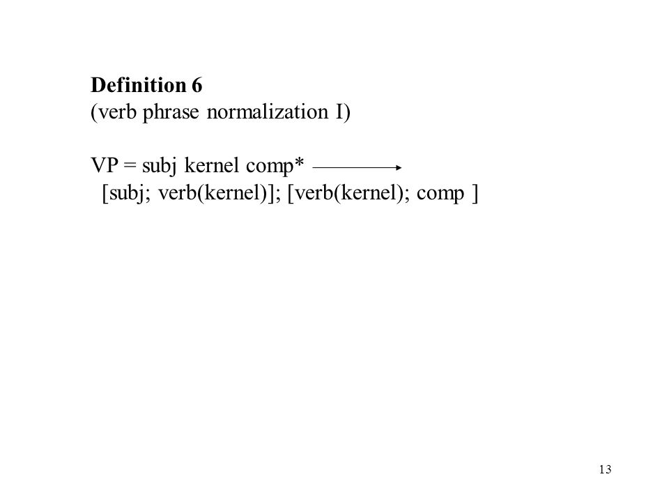 13 Definition 6 (verb phrase normalization I) VP = subj kernel comp* [subj; verb(kernel)]; [verb(kernel); comp ]