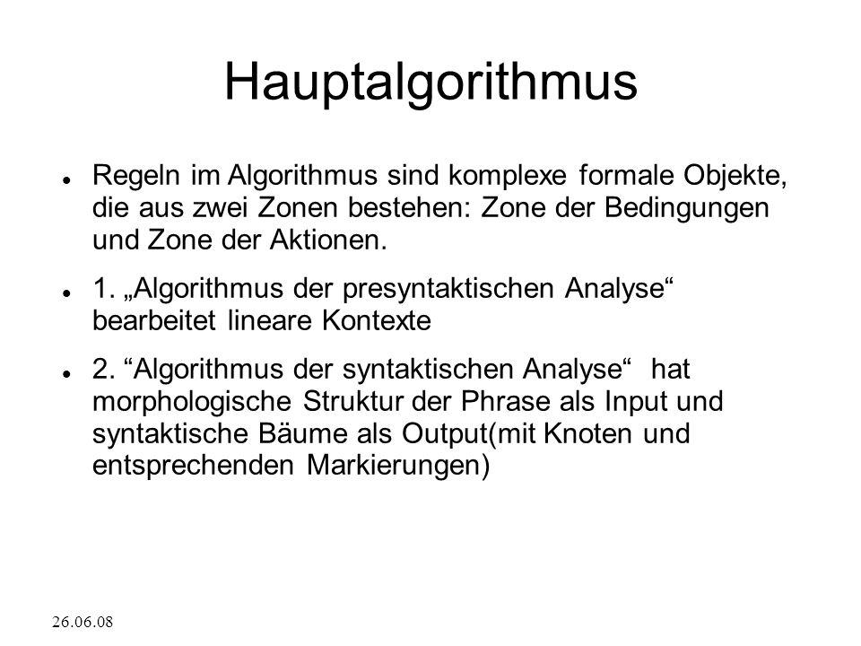 26.06.08 Hauptalgorithmus Regeln im Algorithmus sind komplexe formale Objekte, die aus zwei Zonen bestehen: Zone der Bedingungen und Zone der Aktionen