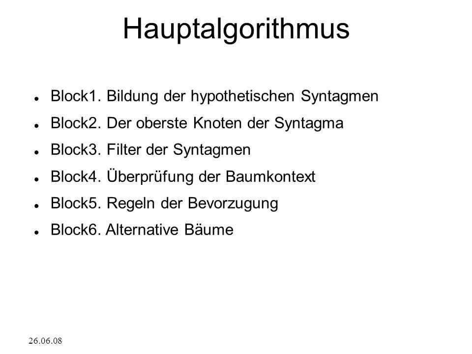 26.06.08 Hauptalgorithmus Block1. Bildung der hypothetischen Syntagmen Block2.