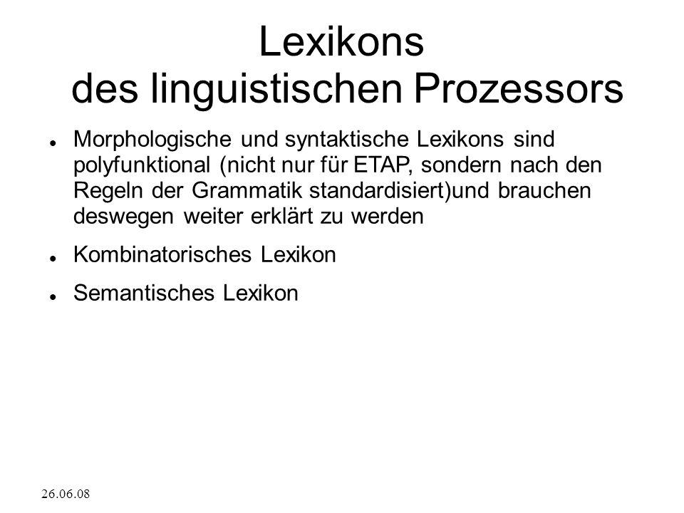 26.06.08 Lexikons des linguistischen Prozessors Morphologische und syntaktische Lexikons sind polyfunktional (nicht nur für ETAP, sondern nach den Reg
