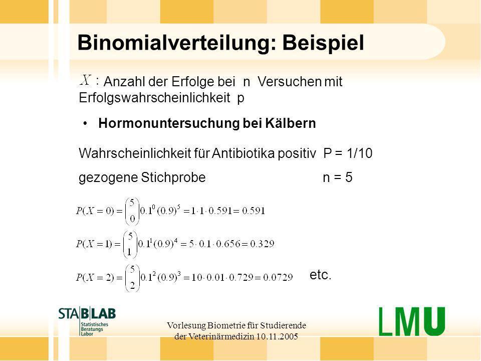 Vorlesung Biometrie für Studierende der Veterinärmedizin 10.11.2005 Binomialverteilung: Beispiel Wahrscheinlichkeit für Antibiotika positiv P = 1/10 g