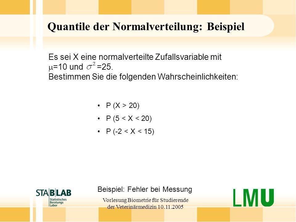 Vorlesung Biometrie für Studierende der Veterinärmedizin 10.11.2005 Quantile der Normalverteilung: Beispiel Beispiel: Fehler bei Messung P (X > 20) P
