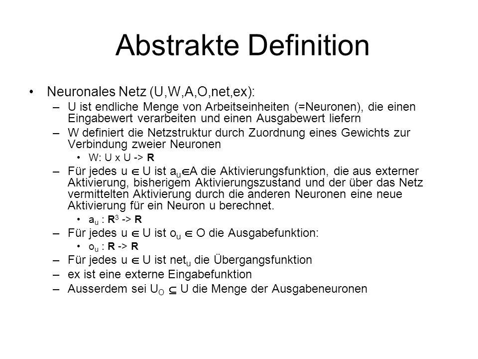 Abstrakte Definition Neuronales Netz (U,W,A,O,net,ex): –U ist endliche Menge von Arbeitseinheiten (=Neuronen), die einen Eingabewert verarbeiten und e