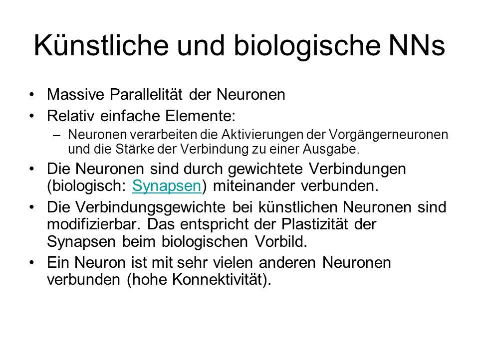 Künstliche und biologische NNs Massive Parallelität der Neuronen Relativ einfache Elemente: –Neuronen verarbeiten die Aktivierungen der Vorgängerneuronen und die Stärke der Verbindung zu einer Ausgabe.