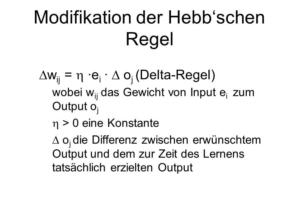 Modifikation der Hebbschen Regel w ij = ·e i · o j (Delta-Regel) wobei w ij das Gewicht von Input e i zum Output o j > 0 eine Konstante o j die Differenz zwischen erwünschtem Output und dem zur Zeit des Lernens tatsächlich erzielten Output