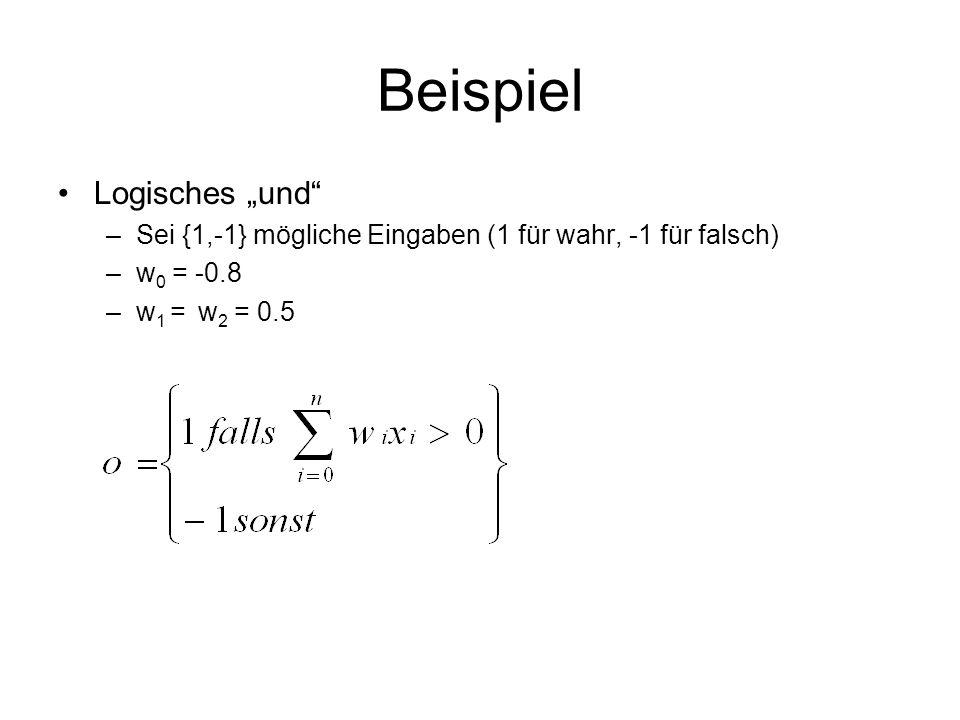 Beispiel Logisches und –Sei {1,-1} mögliche Eingaben (1 für wahr, -1 für falsch) –w 0 = -0.8 –w 1 = w 2 = 0.5