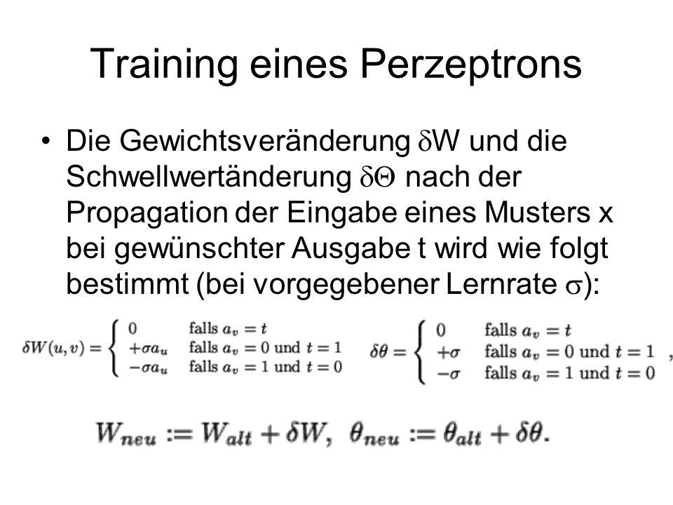 Training eines Perzeptrons Die Gewichtsveränderung W und die Schwellwertänderung nach der Propagation der Eingabe eines Musters x bei gewünschter Ausgabe t wird wie folgt bestimmt (bei vorgegebener Lernrate ):