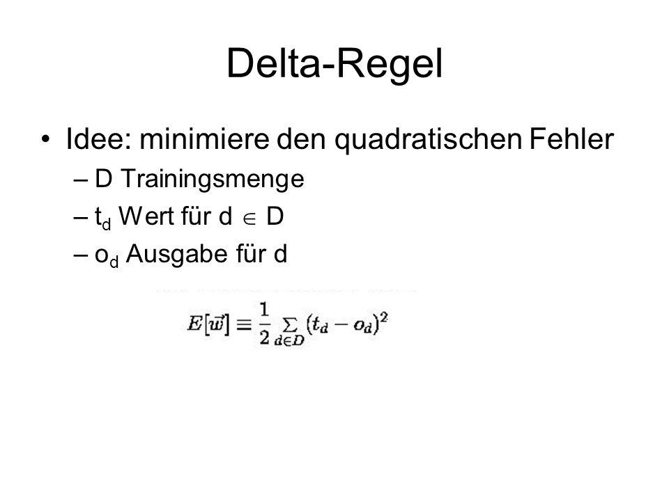 Delta-Regel Idee: minimiere den quadratischen Fehler –D Trainingsmenge –t d Wert für d D –o d Ausgabe für d