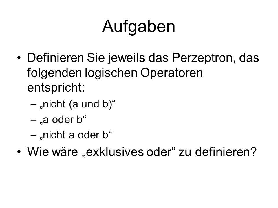 Aufgaben Definieren Sie jeweils das Perzeptron, das folgenden logischen Operatoren entspricht: –nicht (a und b) –a oder b –nicht a oder b Wie wäre exklusives oder zu definieren?