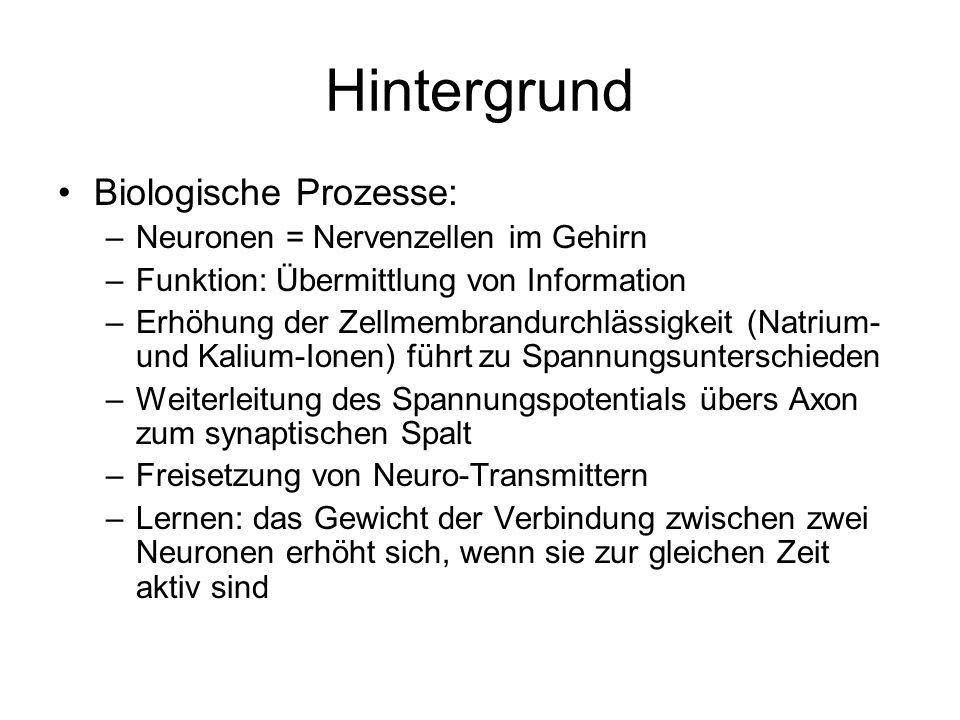 Hintergrund Biologische Prozesse: –Neuronen = Nervenzellen im Gehirn –Funktion: Übermittlung von Information –Erhöhung der Zellmembrandurchlässigkeit