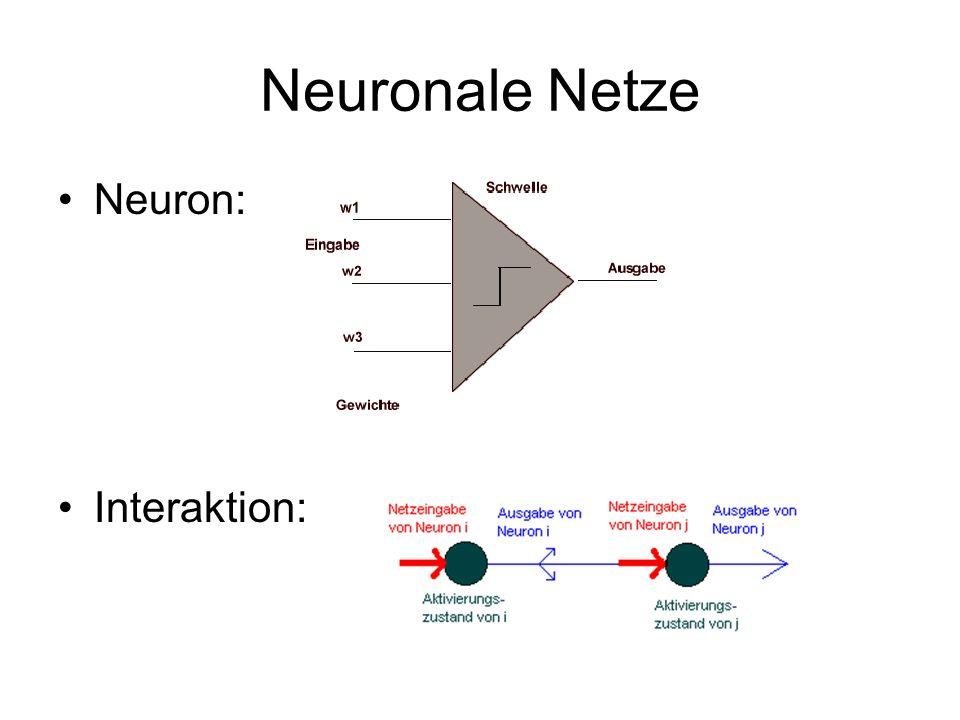 Abstrakte Definition Neuronales Netz (U,W,A,O,net,ex): –U ist endliche Menge von Arbeitseinheiten (=Neuronen), die einen Eingabewert verarbeiten und einen Ausgabewert liefern –W definiert die Netzstruktur durch Zuordnung eines Gewichts zur Verbindung zweier Neuronen W: U x U -> R –Für jedes u U ist a u A die Aktivierungsfunktion, die aus externer Aktivierung, bisherigem Aktivierungszustand und der über das Netz vermittelten Aktivierung durch die anderen Neuronen eine neue Aktivierung für ein Neuron u berechnet.