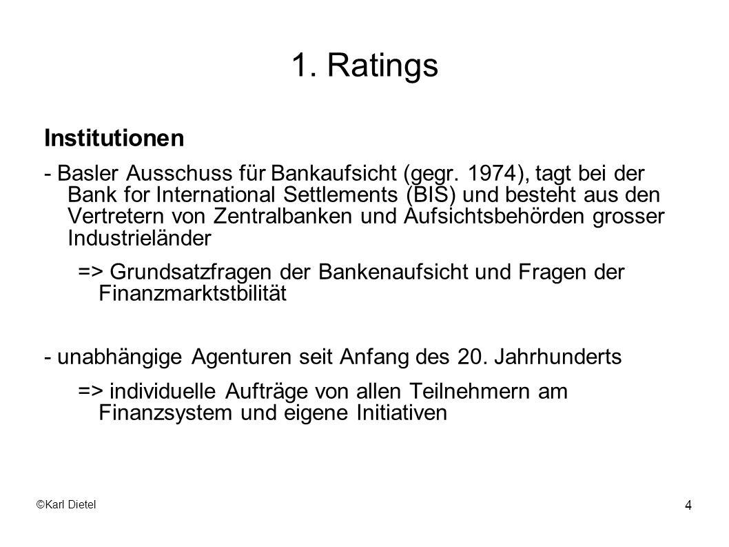 ©Karl Dietel 15 1.1 Externe Ratings Trotz dieser Einfachheit fallen ebenfalls die volumensbezogenen Gebühren an, wenn auch reduziert.