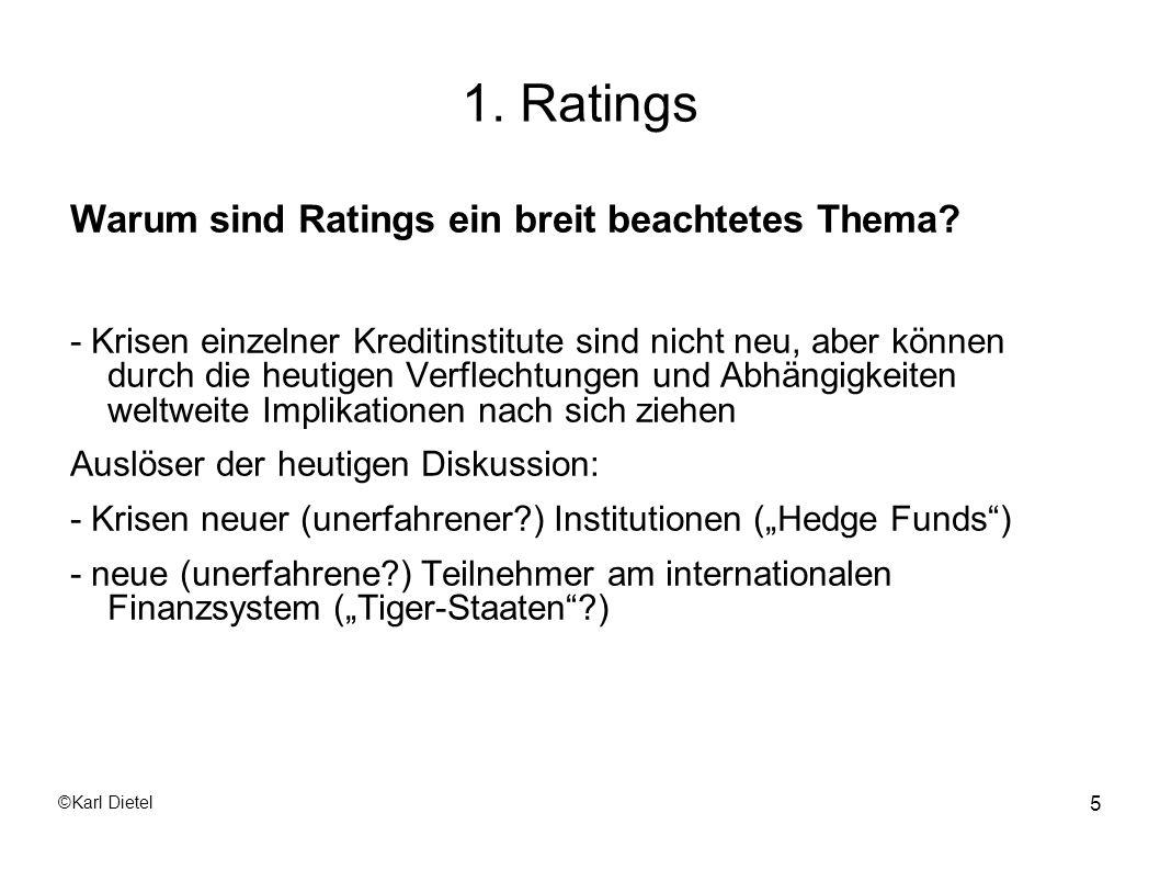 ©Karl Dietel 66 2.1 Internes Rating Es gibt 6 Themenkomplexe: - Jahresabschlussanalyse - mittelfristige Unternehmensplanung - Bilanzpolitik - Liquiditätsrating - qualitatives Rating - Branchenrating
