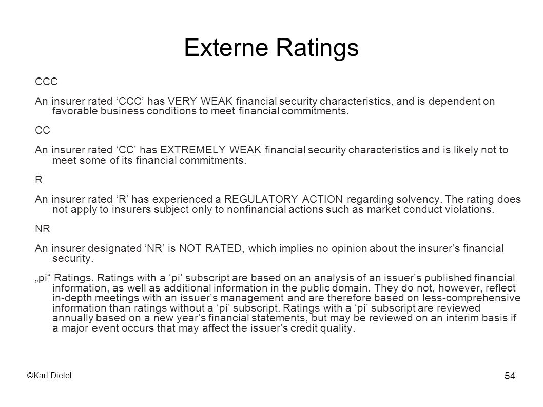 ©Karl Dietel 54 Externe Ratings CCC An insurer rated CCC has VERY WEAK financial security characteristics, and is dependent on favorable business cond