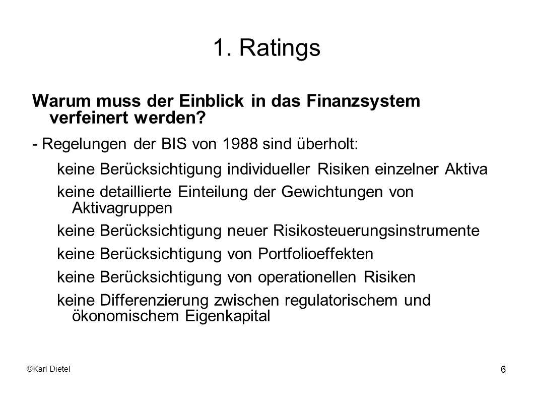 ©Karl Dietel 37 Externe Ratings Beurteilungsgrundsätze Die Erfolgsfaktoren werden einzeln beurteilt ausgewogene Berücksichtigung von Vergangenheit und Zukunft Branchenorientierung Nachvollziehbarkeit