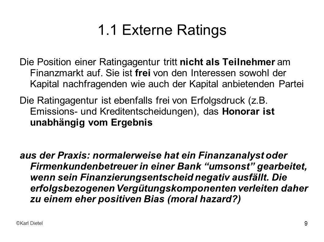 ©Karl Dietel 20 1.1 Externe Ratings Der Zeitaufwand für den Ratingprozess kann zwischen einigen Wochen bis zu mehreren Monaten betragen, je nach Vorbereitung des Emittenten.