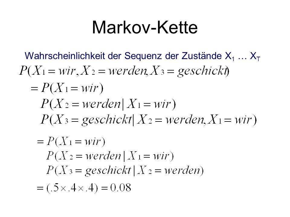 Markov-Kette Wahrscheinlichkeit der Sequenz der Zustände X 1 … X T