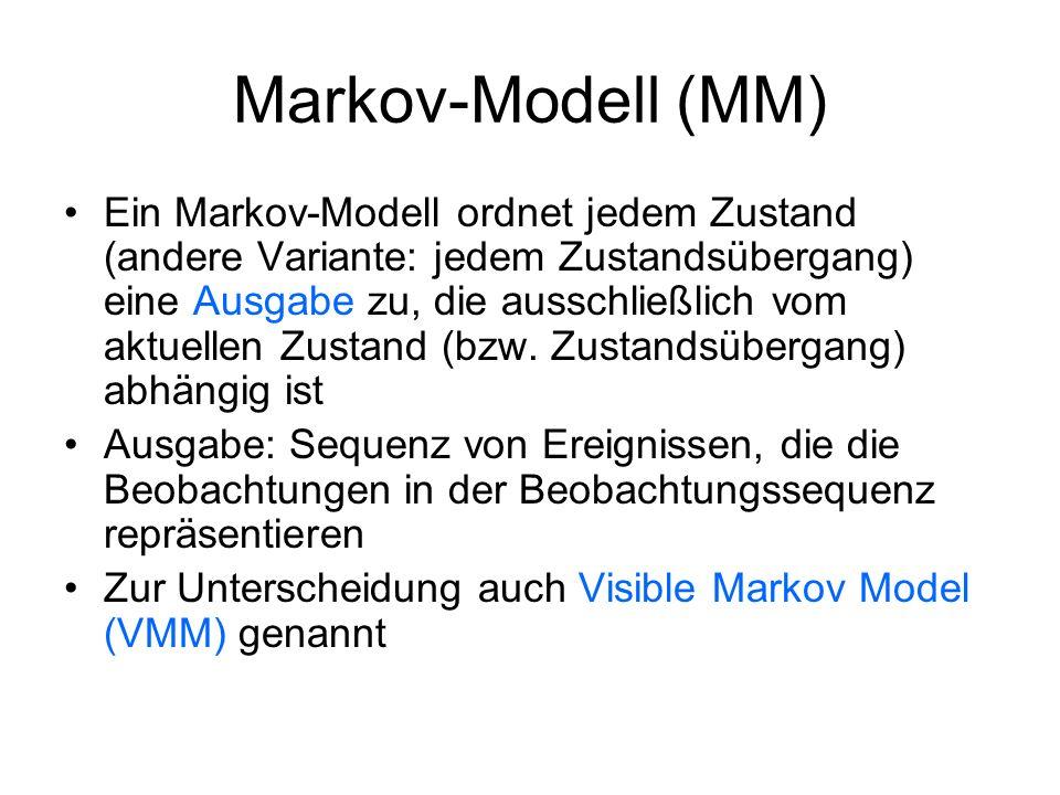 Markov-Modell (MM) Ein Markov-Modell ordnet jedem Zustand (andere Variante: jedem Zustandsübergang) eine Ausgabe zu, die ausschließlich vom aktuellen