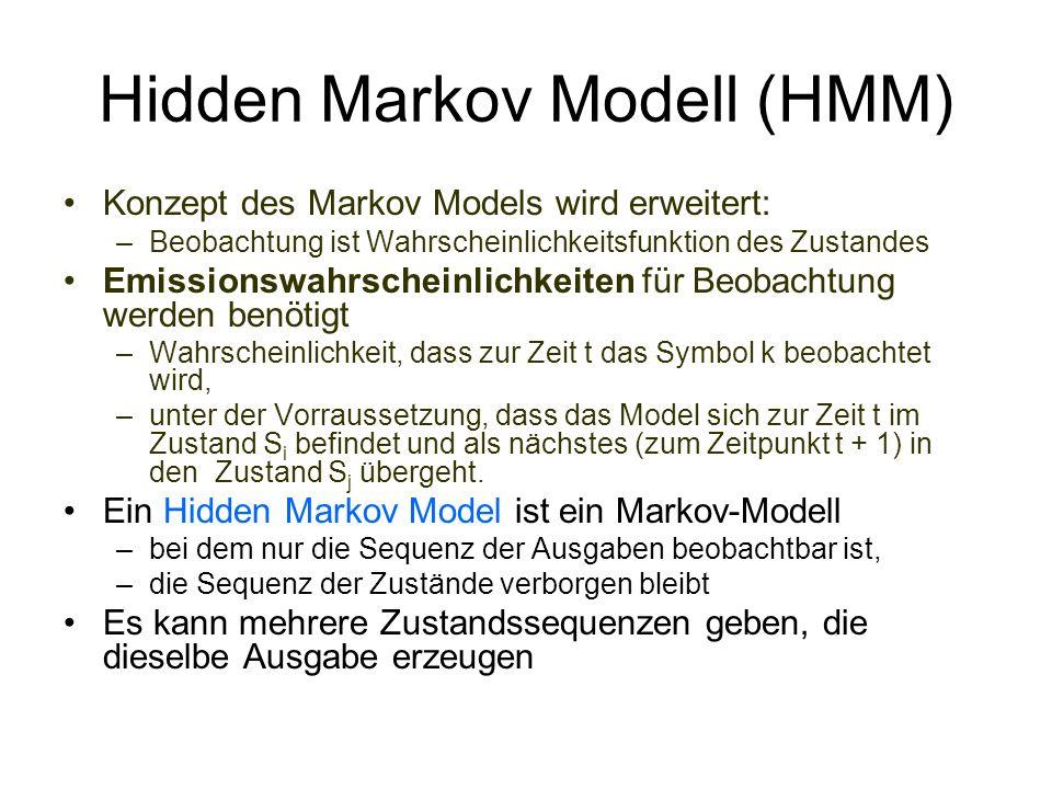 Hidden Markov Modell (HMM) Konzept des Markov Models wird erweitert: –Beobachtung ist Wahrscheinlichkeitsfunktion des Zustandes Emissionswahrscheinlic