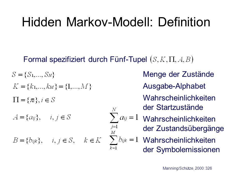 Hidden Markov-Modell: Definition Formal spezifiziert durch Fünf-Tupel Menge der Zustände Ausgabe-Alphabet Wahrscheinlichkeiten der Startzustände Wahrs