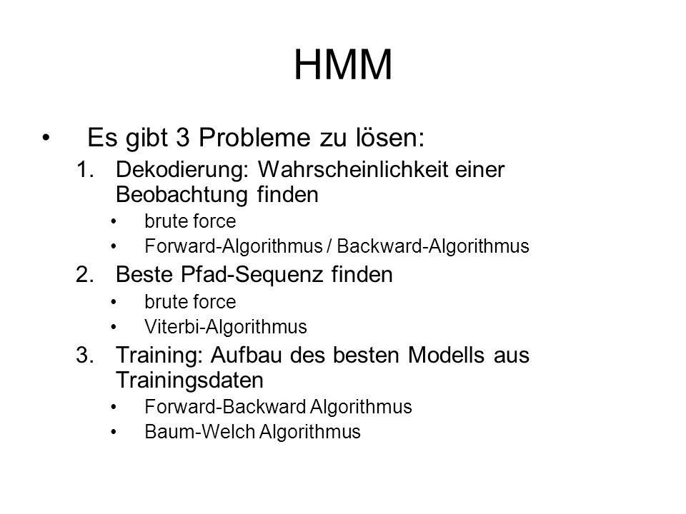 HMM Es gibt 3 Probleme zu lösen: 1.Dekodierung: Wahrscheinlichkeit einer Beobachtung finden brute force Forward-Algorithmus / Backward-Algorithmus 2.B