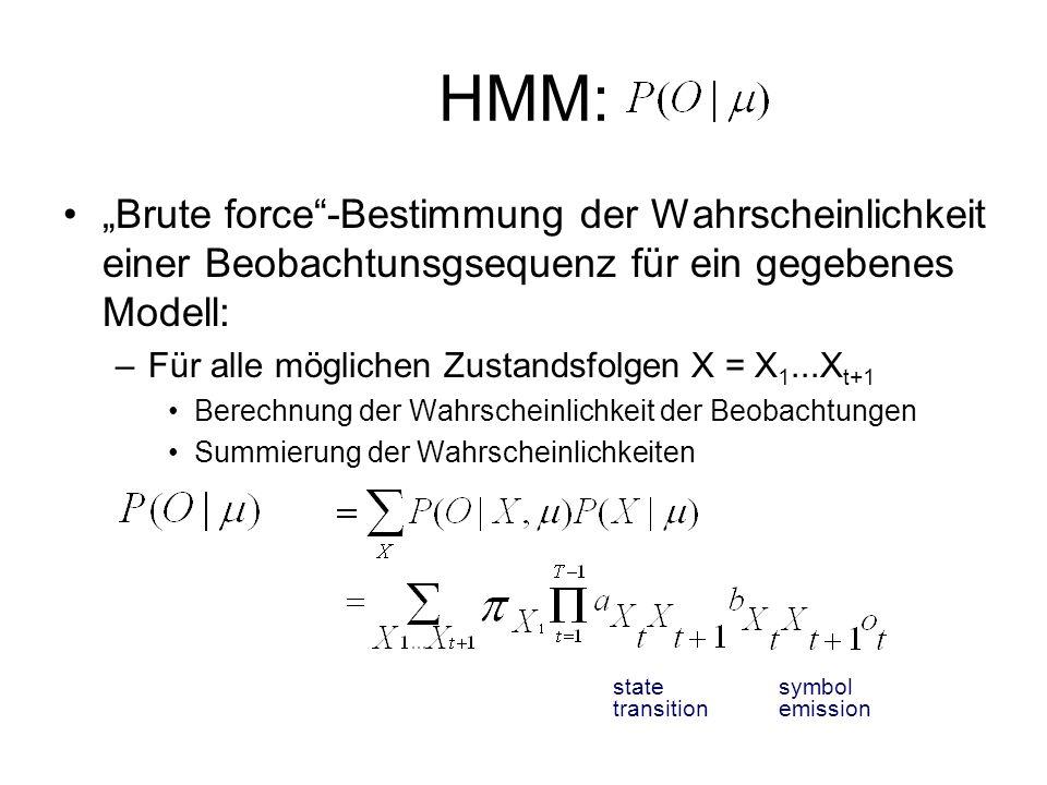 HMM: Brute force-Bestimmung der Wahrscheinlichkeit einer Beobachtunsgsequenz für ein gegebenes Modell: –Für alle möglichen Zustandsfolgen X = X 1...X