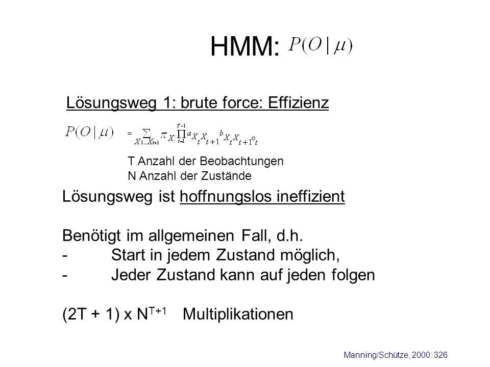 HMM: Lösungsweg 1: brute force: Effizienz Lösungsweg ist hoffnungslos ineffizient Benötigt im allgemeinen Fall, d.h. -Start in jedem Zustand möglich,