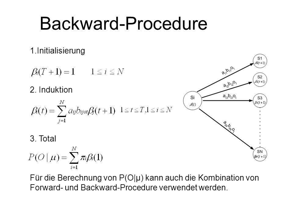 Backward-Procedure 1.Initialisierung 2. Induktion 3. Total Für die Berechnung von P(O|μ) kann auch die Kombination von Forward- und Backward-Procedure