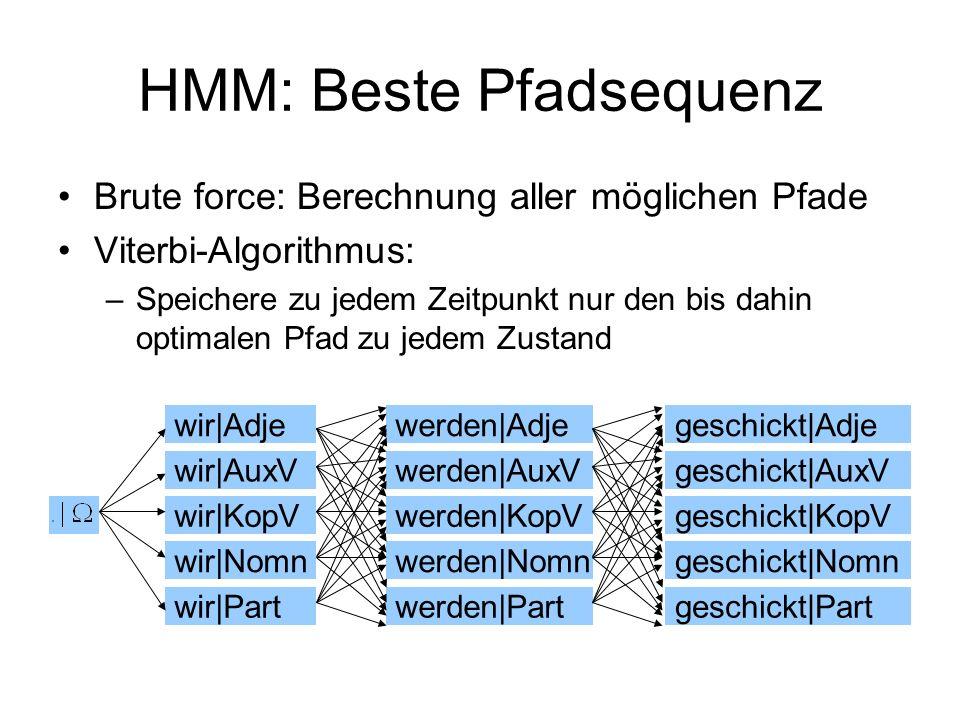 HMM: Beste Pfadsequenz Brute force: Berechnung aller möglichen Pfade Viterbi-Algorithmus: –Speichere zu jedem Zeitpunkt nur den bis dahin optimalen Pf
