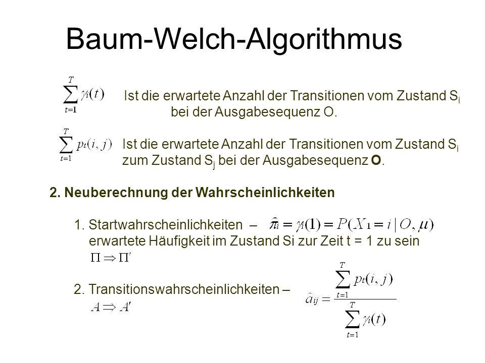 Baum-Welch-Algorithmus Ist die erwartete Anzahl der Transitionen vom Zustand S i bei der Ausgabesequenz O. Ist die erwartete Anzahl der Transitionen v