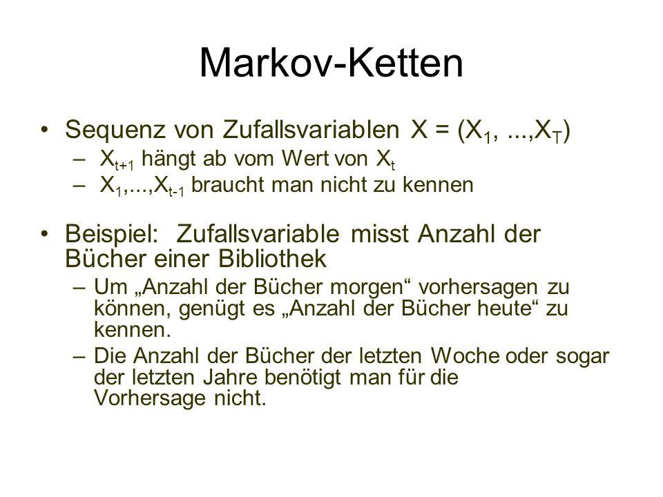 Markov-Ketten Sequenz von Zufallsvariablen X = (X 1,...,X T ) – X t+1 hängt ab vom Wert von X t – X 1,...,X t-1 braucht man nicht zu kennen Beispiel: