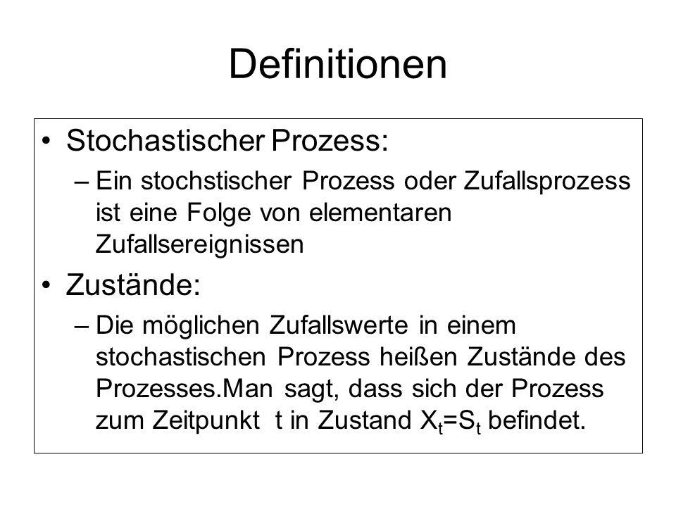 Definitionen Stochastischer Prozess: –Ein stochstischer Prozess oder Zufallsprozess ist eine Folge von elementaren Zufallsereignissen Zustände: –Die m
