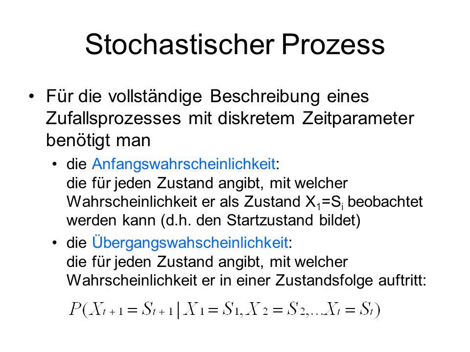 Stochastischer Prozess Für die vollständige Beschreibung eines Zufallsprozesses mit diskretem Zeitparameter benötigt man die Anfangswahrscheinlichkeit